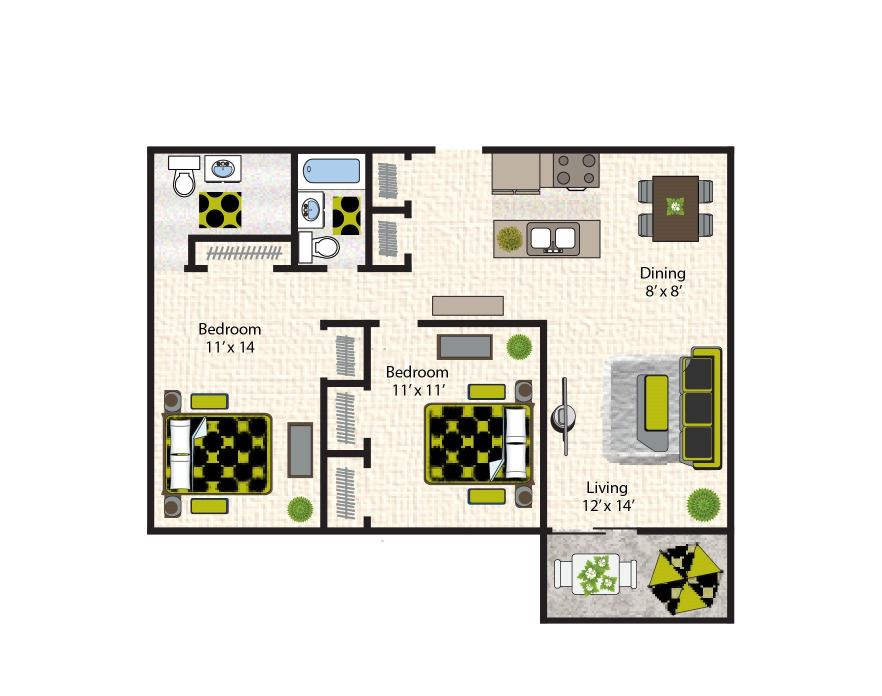 Two Bedrooms floorplan
