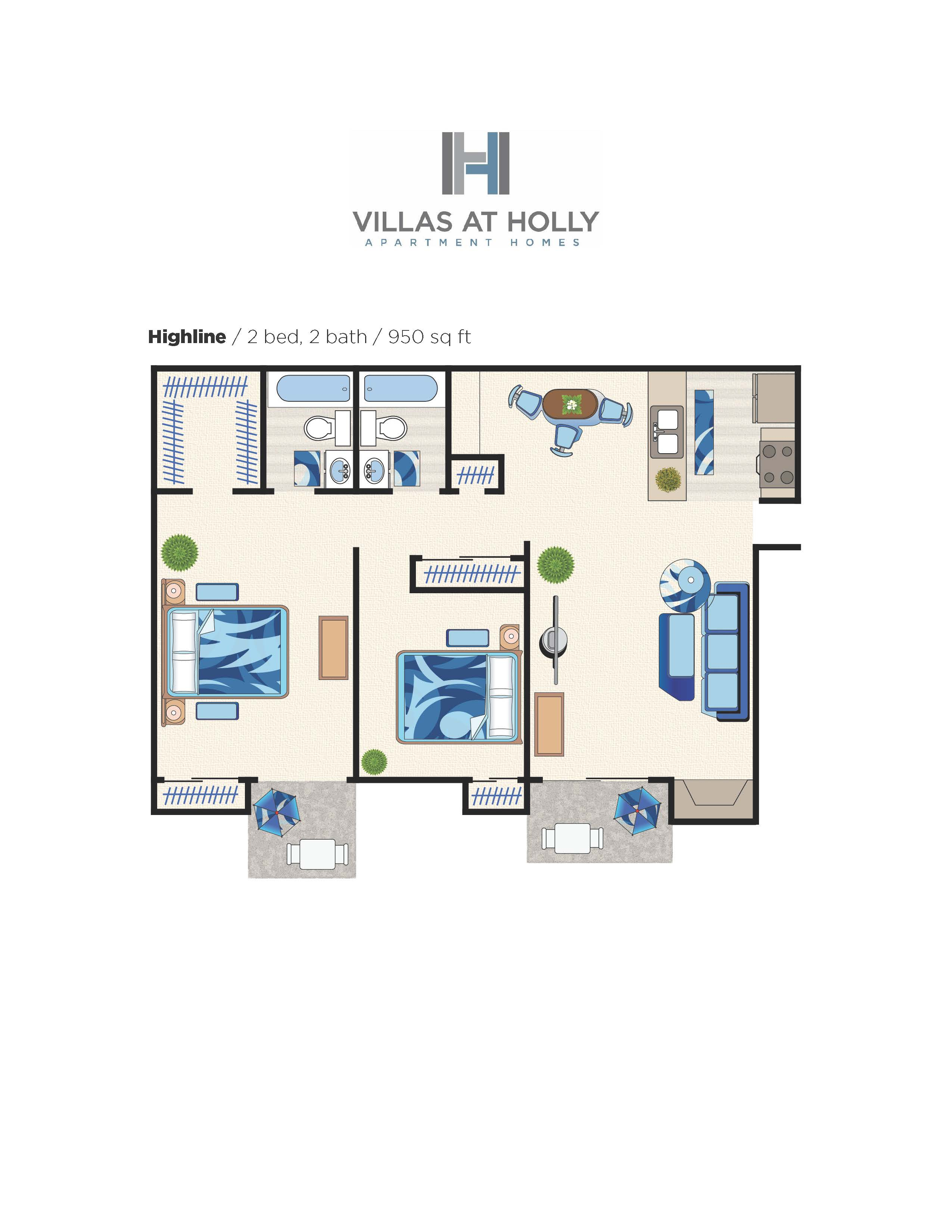 2x2 Highline floorplan