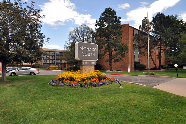 Monument Sign of Monaco South Apartments for Rent in Denver Co