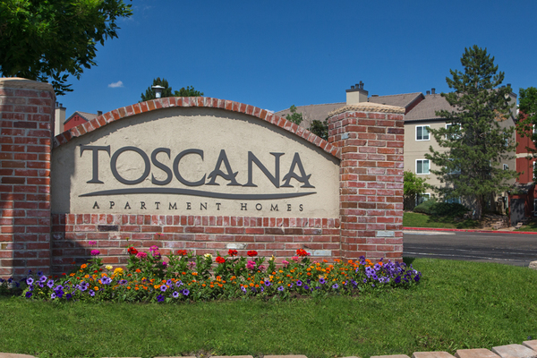 Monument Sign of Toscana-Apartments for rent in Arvada, Co