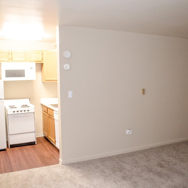 Regent Park Apartments - empty living room and kitchen area