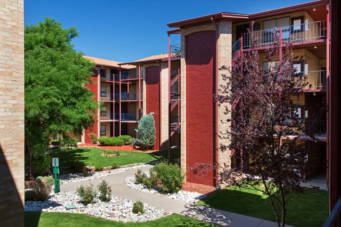 Exterior of The Atrii Apartments for rent in Denver Co