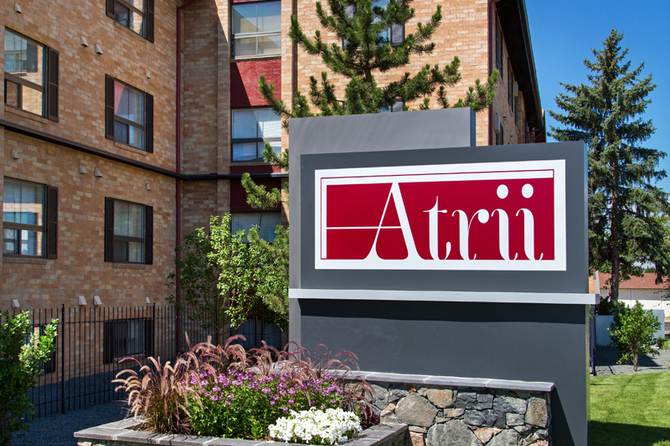 Monument Sign of The Atrii Apartments for rent in Denver Co