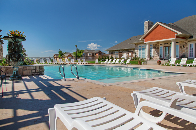 Pool area of The Vineyards Apartments