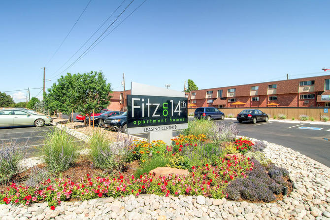 Monument Sign of Fitz on 14th Apartments for rent in Aurora, Co