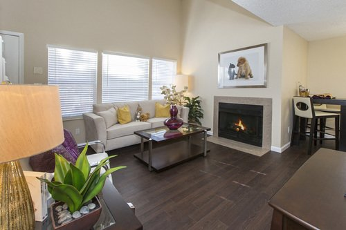 Newport Village - Living room with fireplace